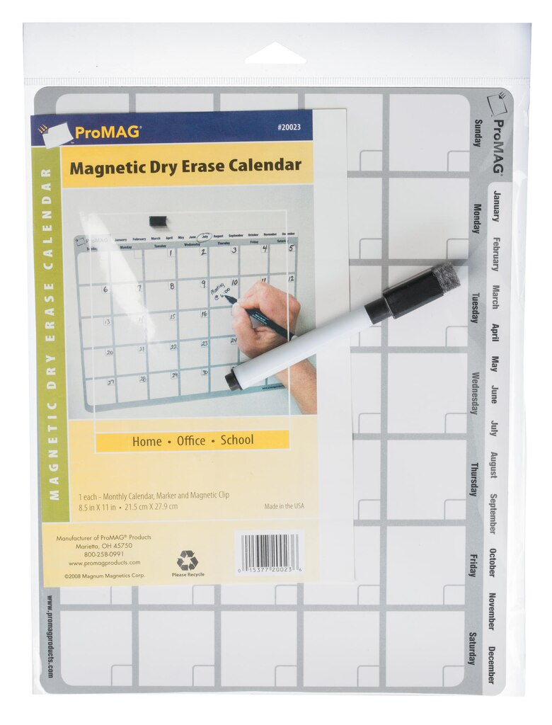 Dry Erase Board - Magnetic - Calendar - with Marker - 8.5\