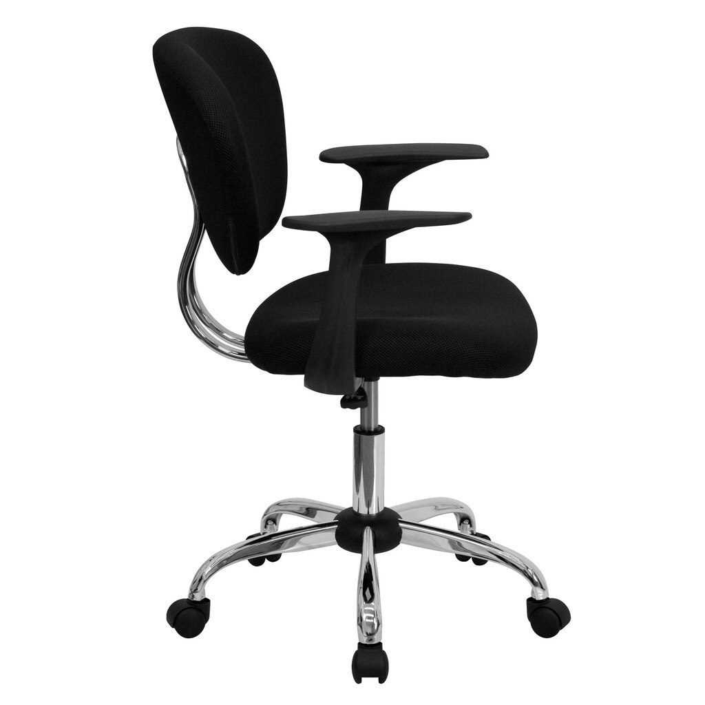 flash furniture mid back mesh swivel task chair with chrome base arms