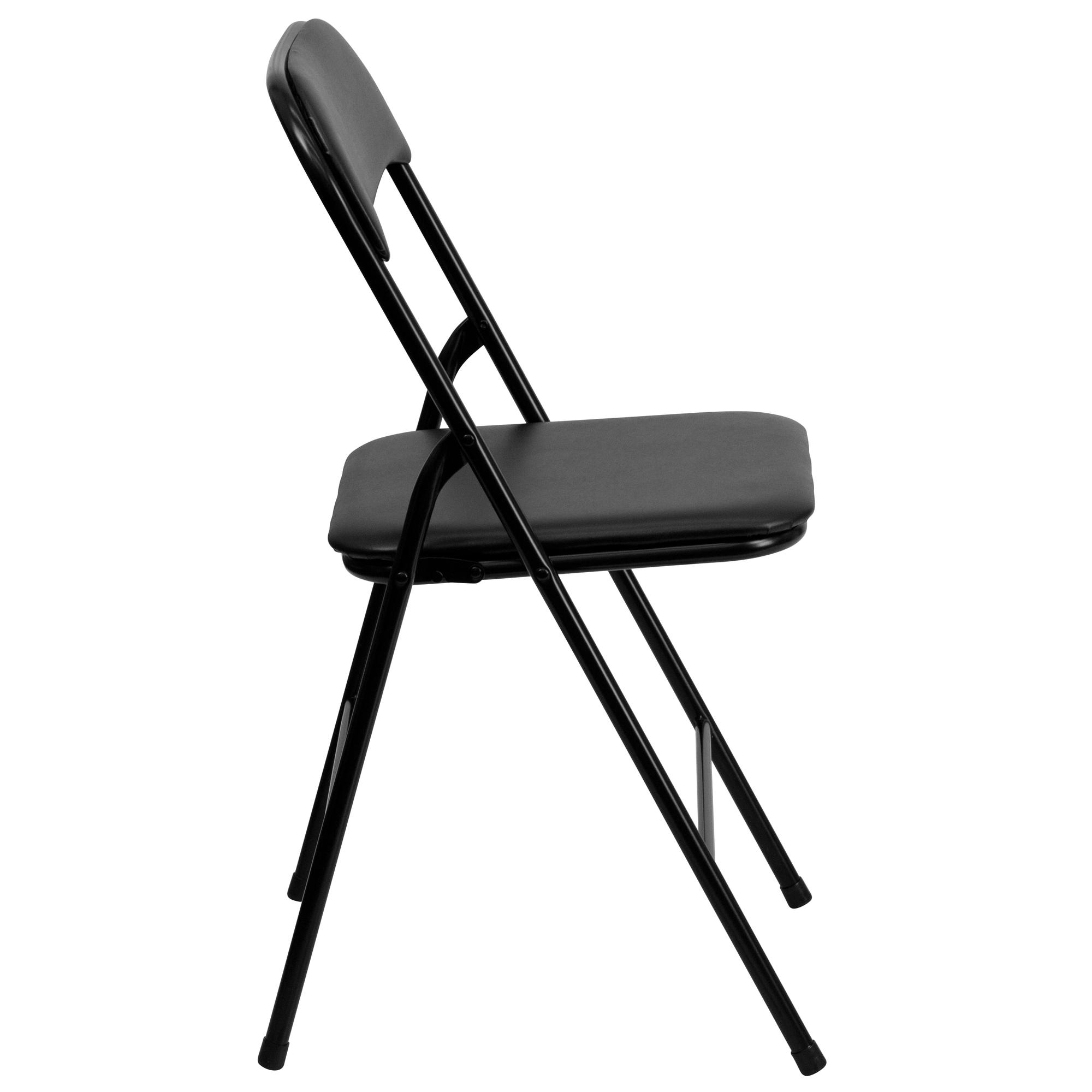 ... Flash Furniture 5 Piece Black Folding Card Table And Chair Set Side  View ...